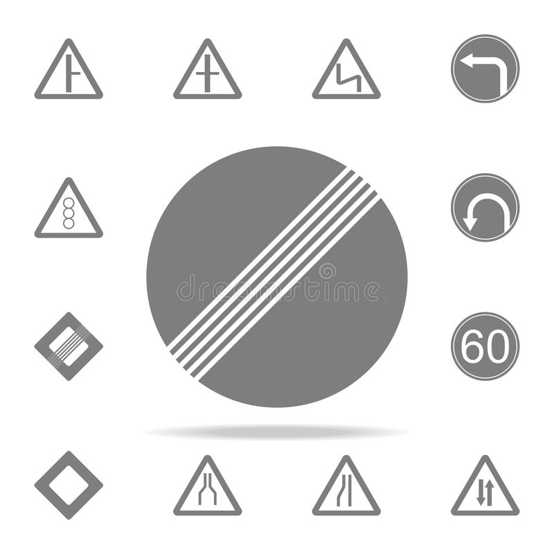 White round road sign end of all restrictions icon. web icons universal set for web and mobile. On white background vector illustration