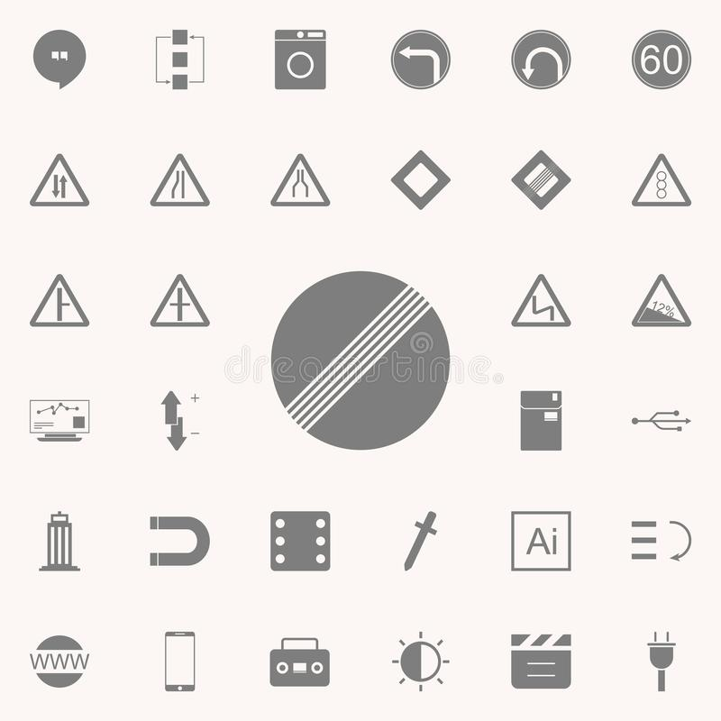 White round road sign end of all restrictions icon. web icons universal set for web and mobile. On colored background stock illustration