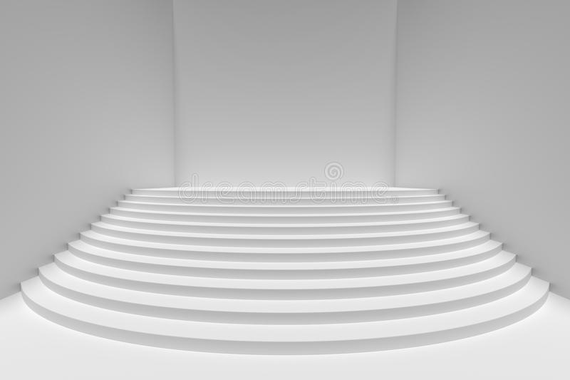 Download White Round Stairs In Empty White Room Wide Angle, Light From To  Stock Illustration
