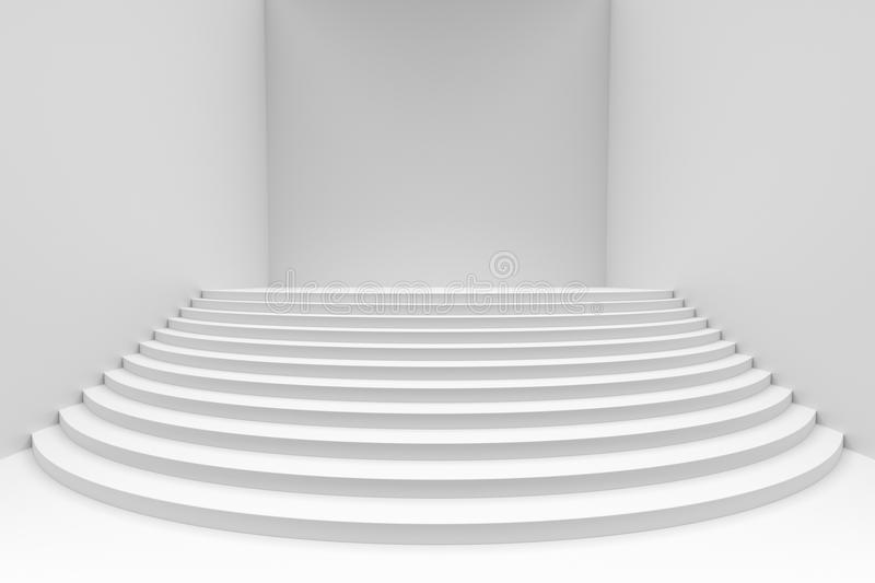 White round stairs in empty white room wide angle front view. Stage with white round stairs in empty white room, wide angle view, abstract architectural 3d vector illustration