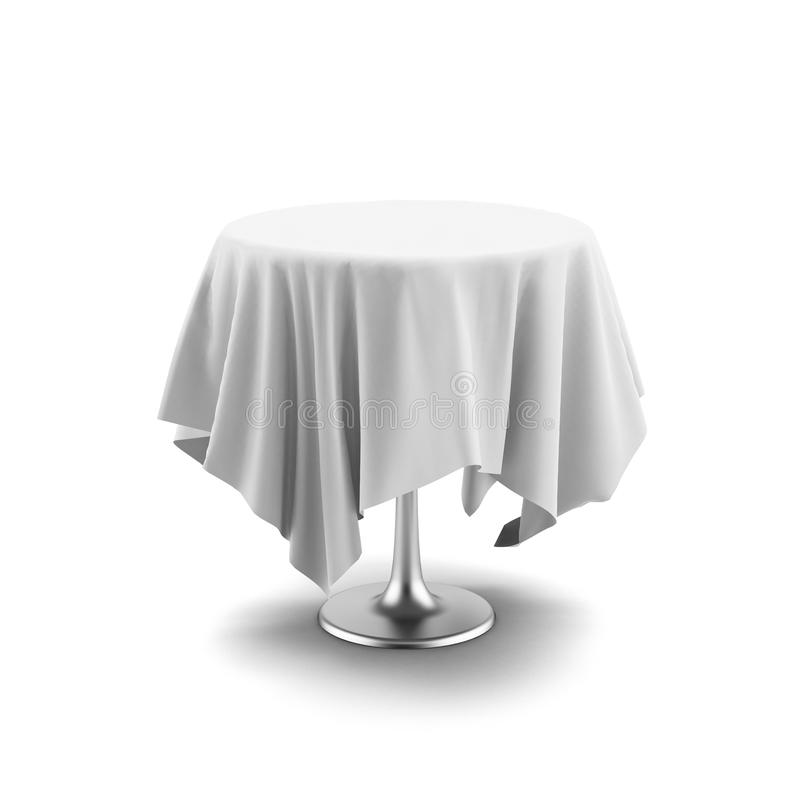 White Round Table And Cloth Stock Photography