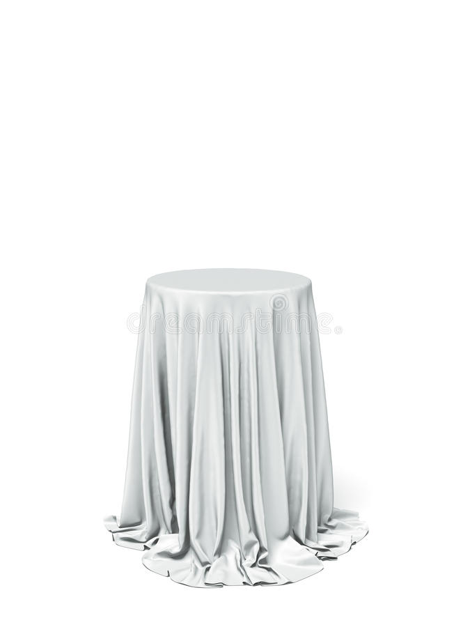 White round table and cloth. Isolated on a white background stock image