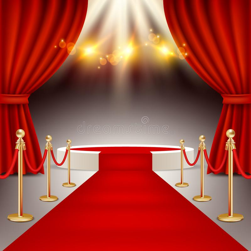 Winners podium with red carpet vector realistic illustration royalty free illustration