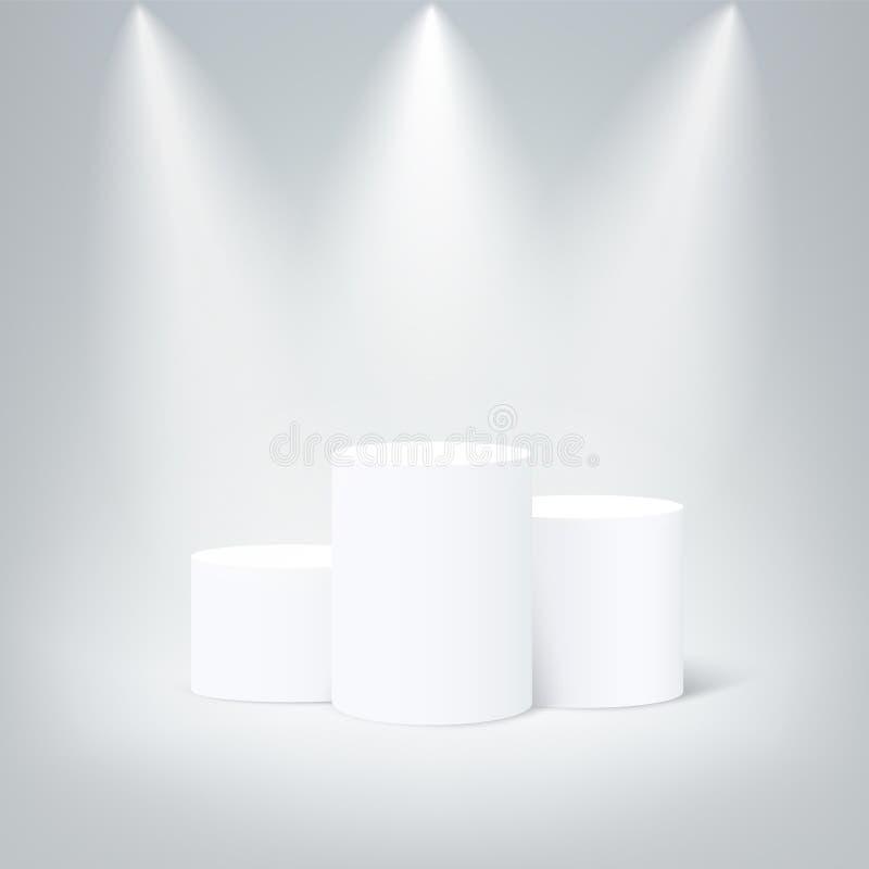 White round winners podium. Vector pedestal illuminated mockup isolated on gray background. Champion, first place, award stock illustration