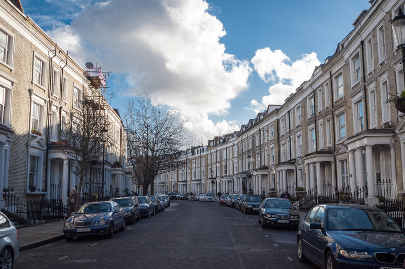 White Row Houses in London, typical architecture stock photography