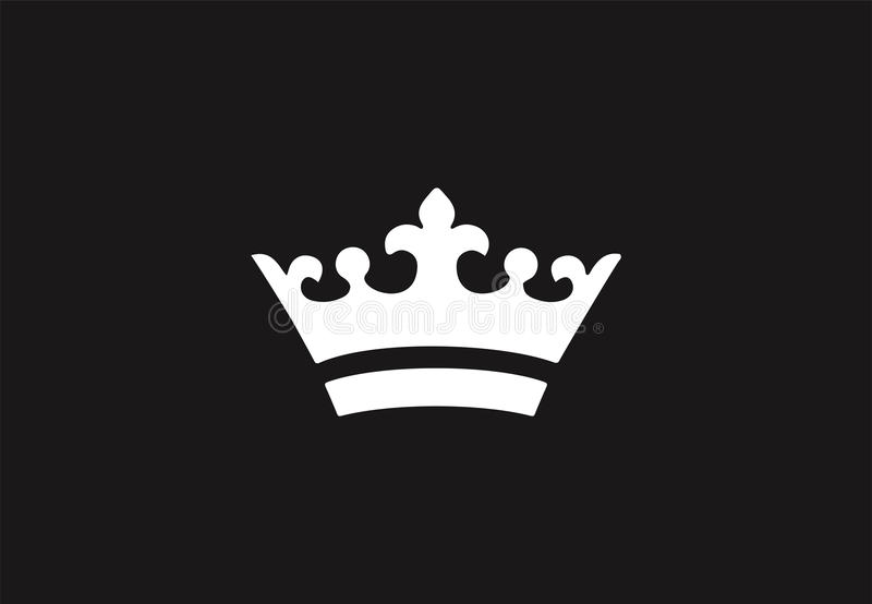 White royal crown icon on black background. royalty free stock images
