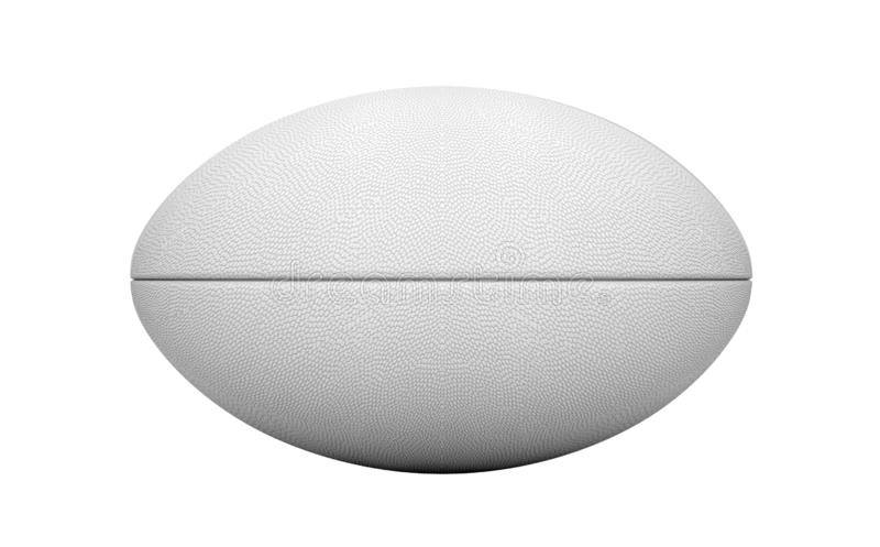 White Rugby Ball. A plain white textured rugby ball on a isolated white background - 3D render vector illustration