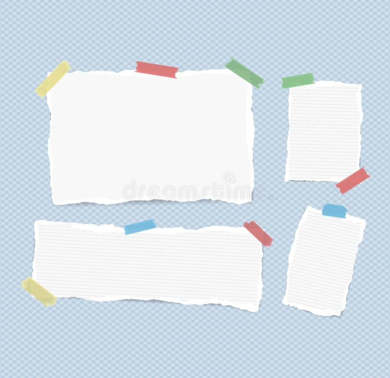 White ruled and blank note, notebook, copybook sheets, strips stuck with colorful sticky tape on squared blue background.  vector illustration