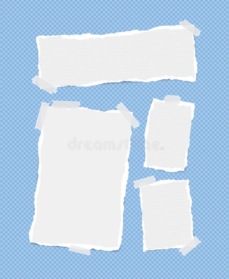 White ruled and blank note, notebook, copybook sheets, strips stuck with sticky tape on squared blue background.  royalty free illustration