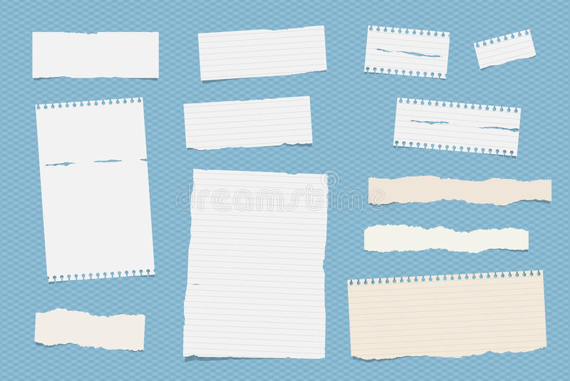 White ruled note, notebook, copybook paper sheets stuck on blue squared pattern.  stock illustration
