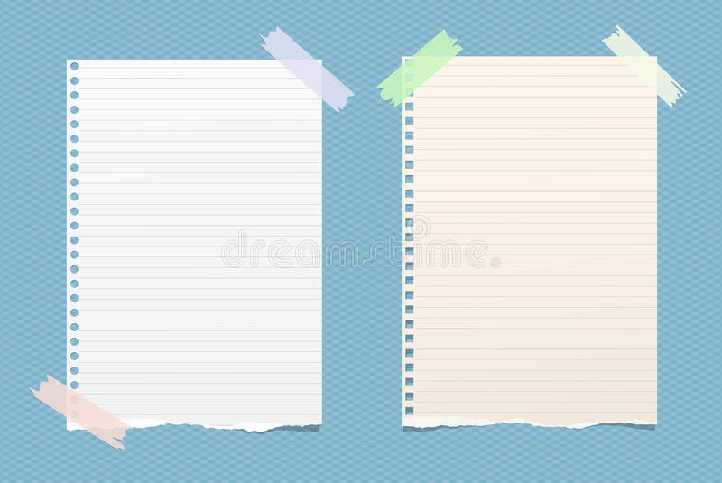 White ruled note, notebook, copybook paper sheets stuck with sticky tape on blue squared pattern.  vector illustration