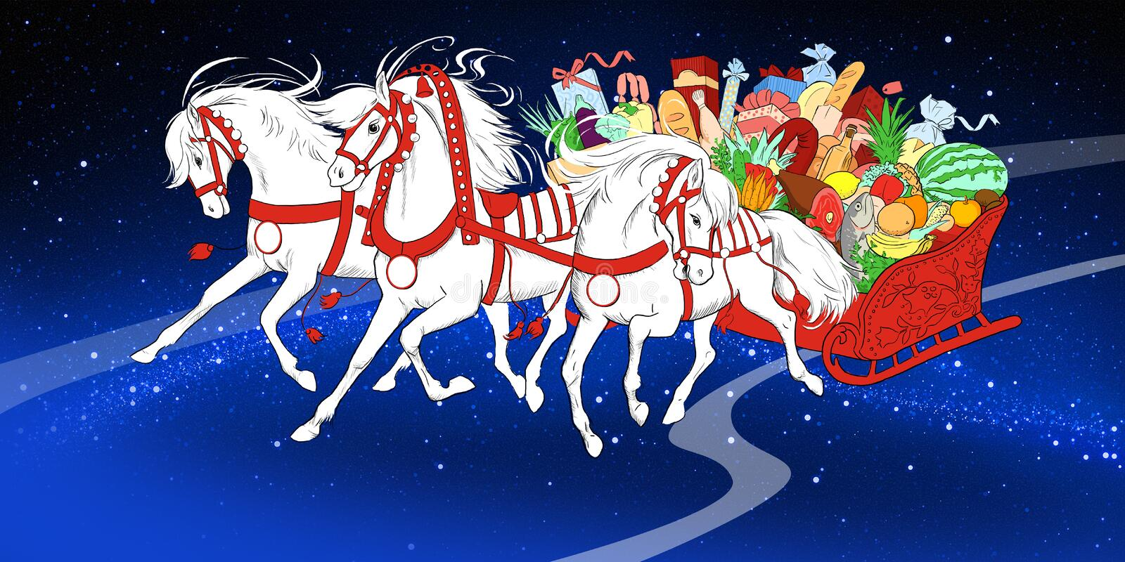 White running horses with sledge of food royalty free stock image