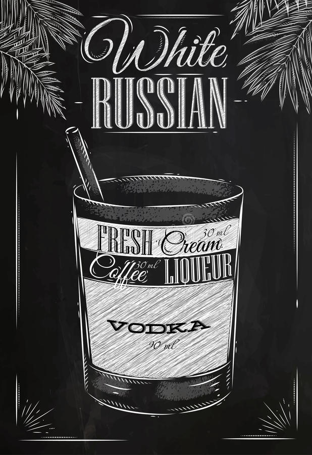 White russian cocktail chalk royalty free illustration