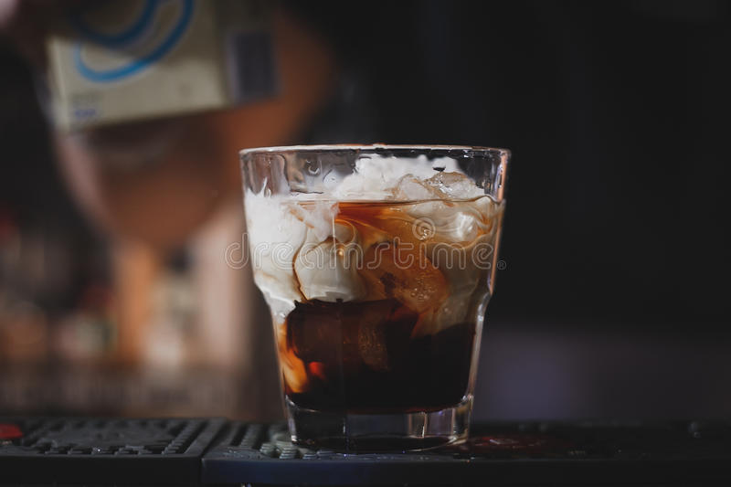 White Russian cocktail or Lebowski stock images