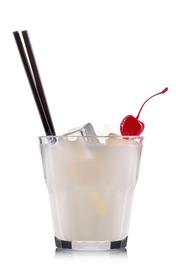 White russian cocktail in old fashioned glass isolated on white background stock image