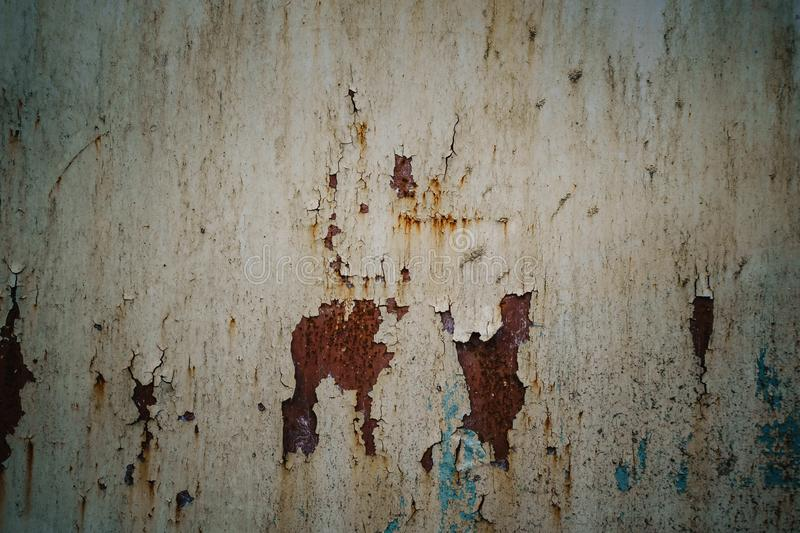 White Rust Metal Decayed Crumpled Sheet Wide Background. Corroded Steel Structure.  stock photo