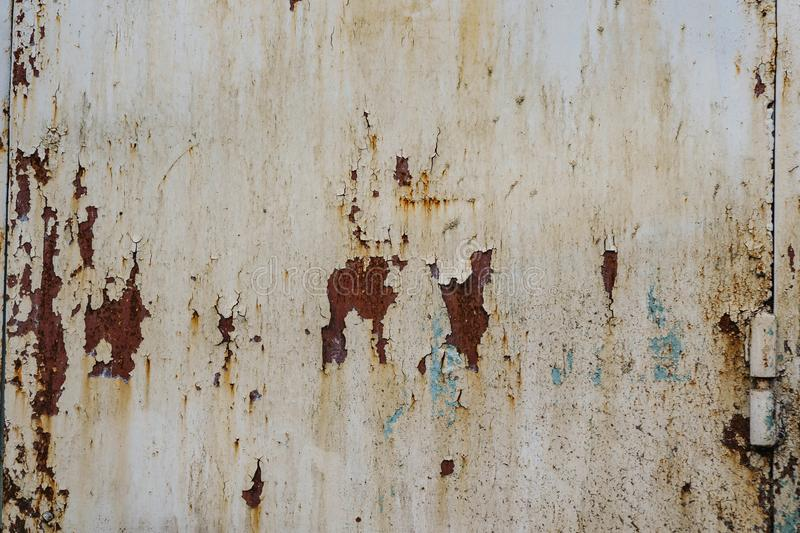White Rust Metal Decayed Crumpled Sheet Wide Background. Corroded Steel Structure.  stock photos