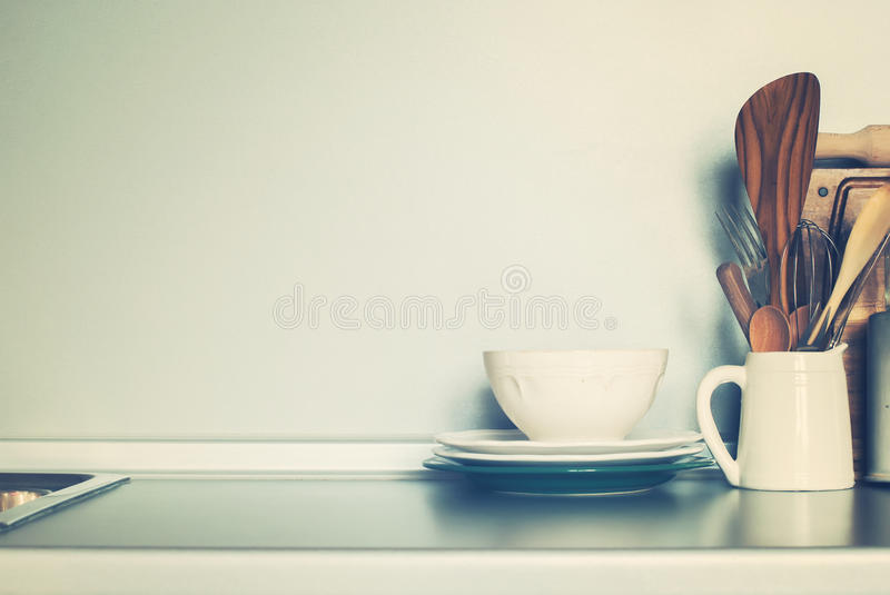 White Rustic Bowl and Kitchen Different Stuff, Table ware on Grey Wall Background stock photography