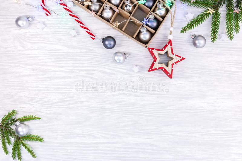 White rustic wooden background with different christmas tree dec stock image