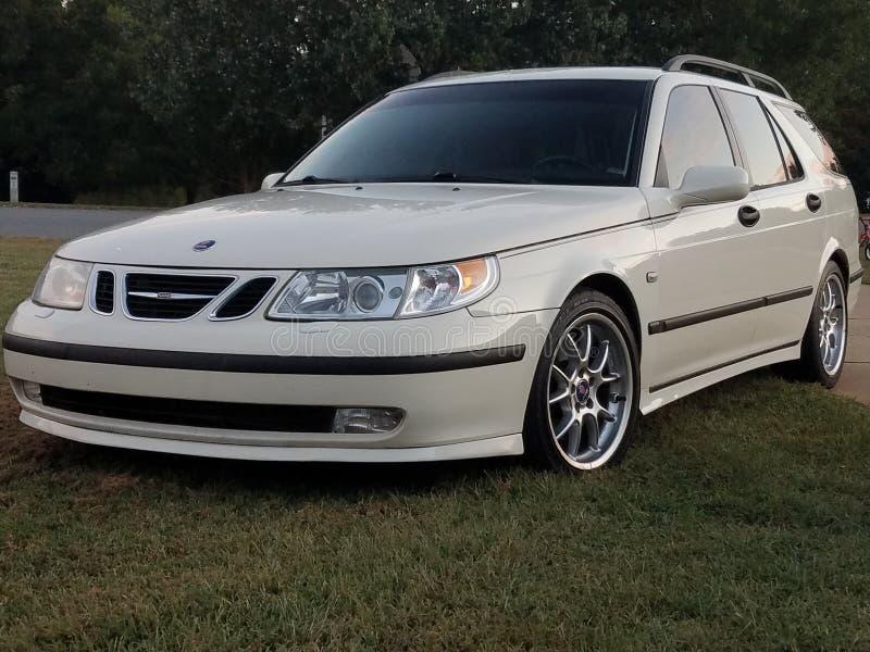 White Saab arc 95 2004 royalty free stock image