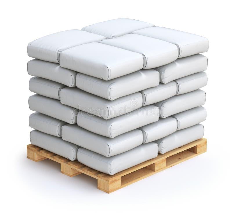 White sacks. On wooden pallet - 3D illustration royalty free illustration