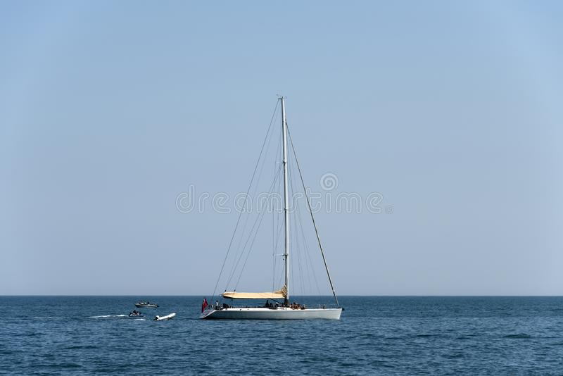 White sail boat. Adriatic sea stock photography