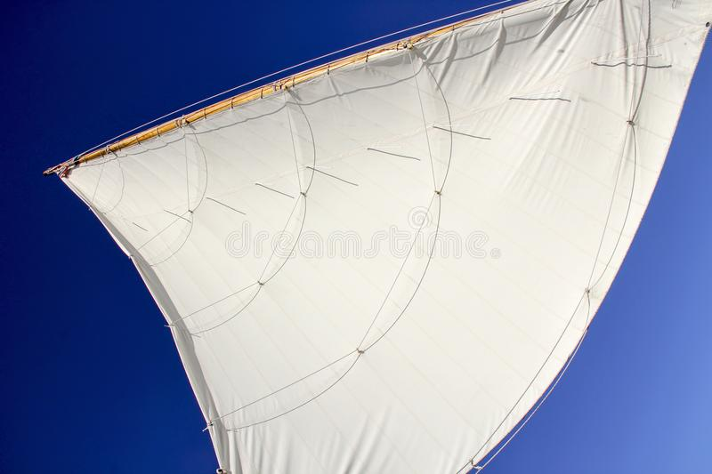 White sail of a sailboat in the sky. A picture of a white sail of a sailboat in the sky in the summer royalty free stock image