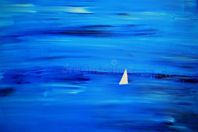 White Sail at Sea. Original acrylic painting on canvas 42 x 30cm stock photo