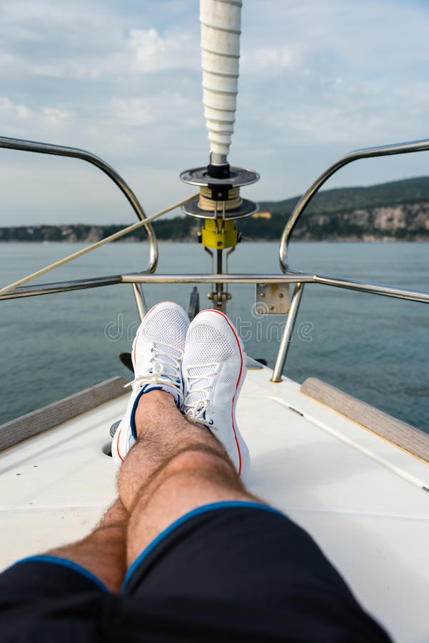 White sailing shoes royalty free stock photography