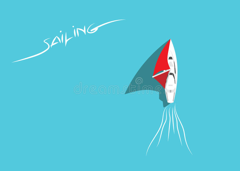 White Sailing Yacht in Azure Sea Top View. Sailing Ship with Red Sails Floating in Ocean. Aerial View. Summer Holiday Background. Copy Space. Flat Design Style stock illustration