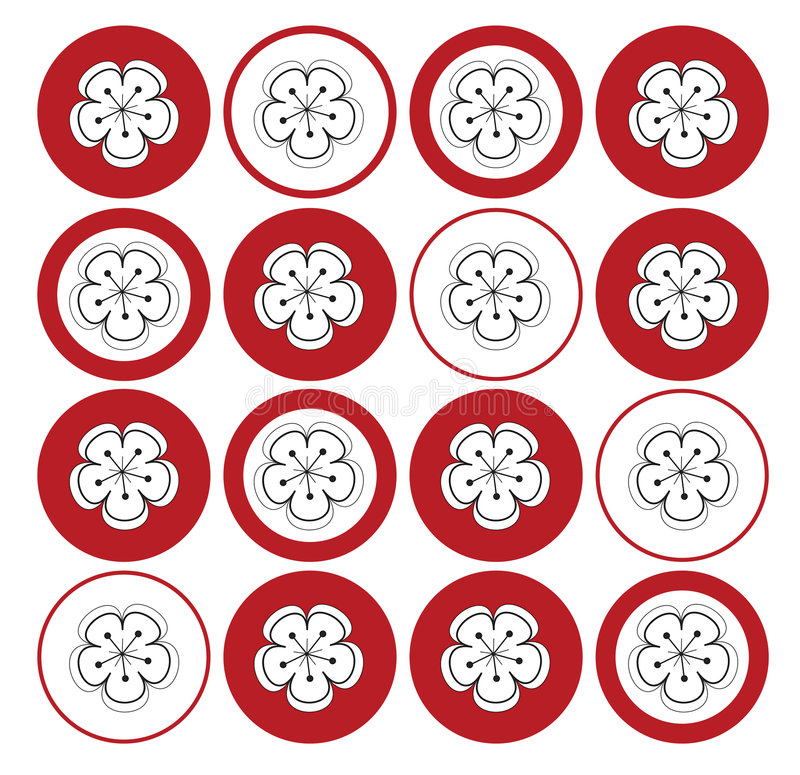 White sakura on red dots royalty free stock photo