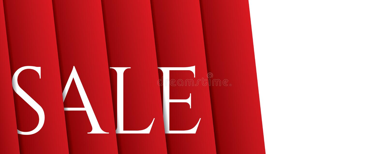 White sale hanging design on red curtain backdround for banner o. R poster. Sale and Discounts Concept. Vector illustration vector illustration