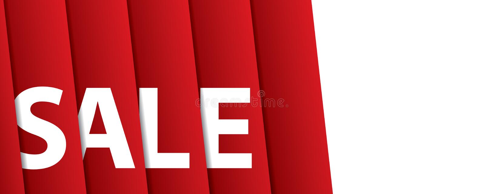 White sale hanging design on red curtain backdround for banner o. R poster. Sale and Discounts Concept. Vector illustration royalty free illustration