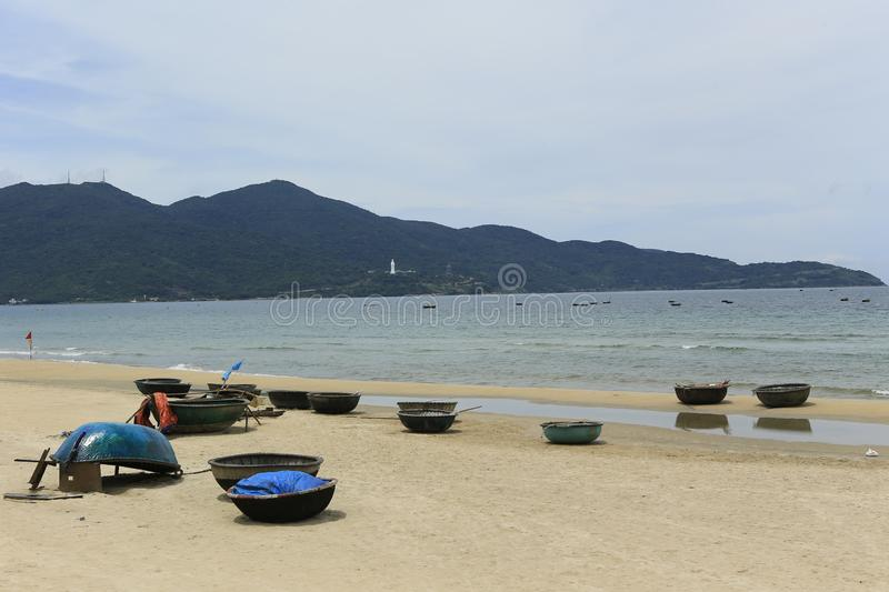White sand beach in danang in Vietnam royalty free stock images