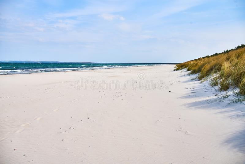 White sand beach, grass and sea royalty free stock images