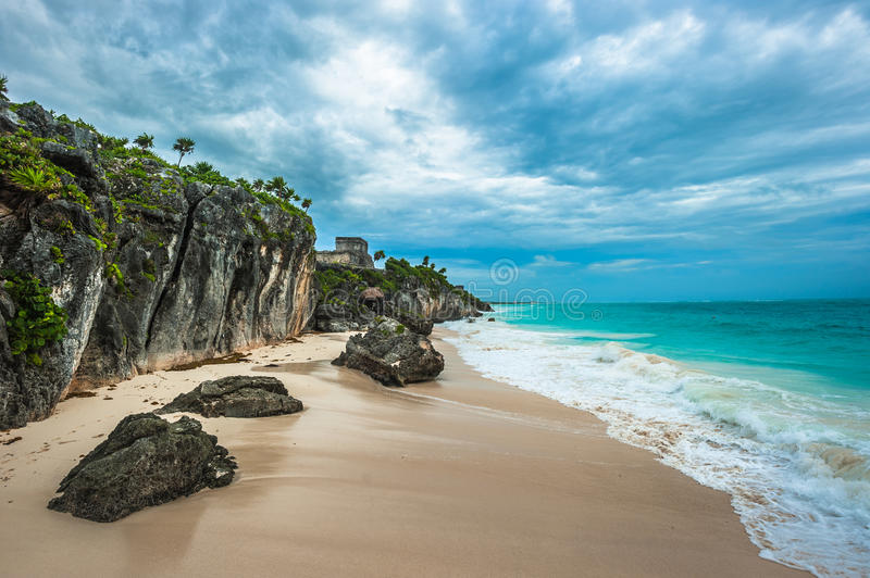 White sand beach and ruins of Tulum, Yuacatan, Mexico royalty free stock images