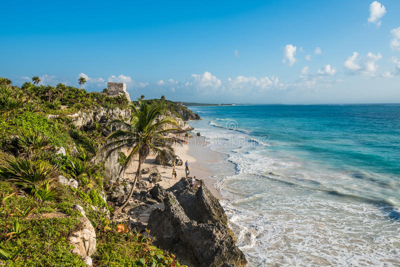 White sand beach and ruins of Tulum, Yuacatan, Mexico. White sandy beach and ruins of Tulum, Yuacatan, Mexico stock photography