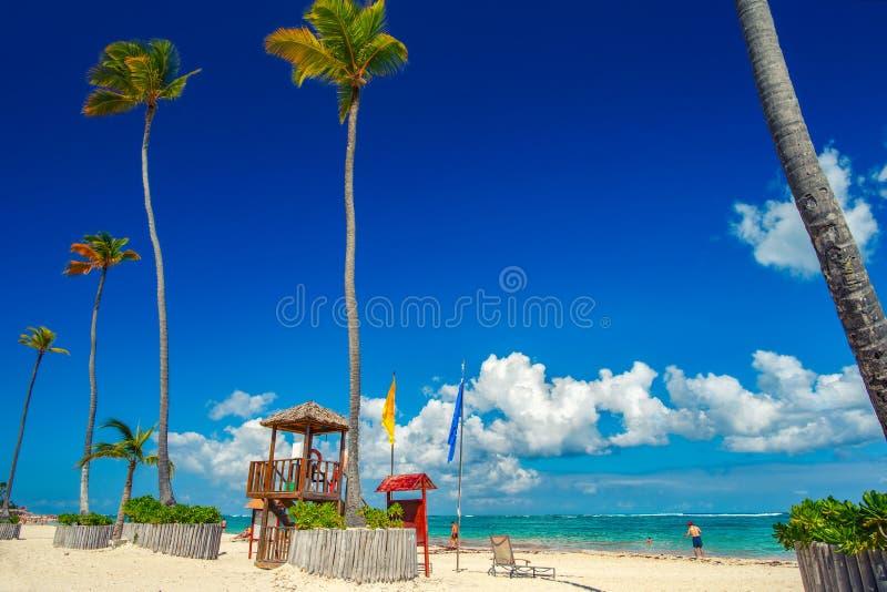 Sunny beach, white sand. Dominican Republic, Bavaro coast beach royalty free stock photo