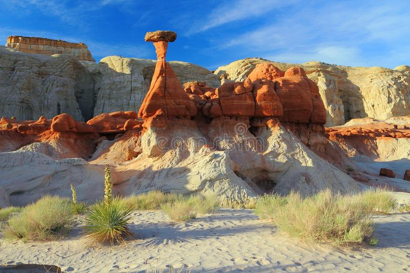 White Sand and Hoodoos along Toadstools Trail, Grand Staircase Escalante National Monument, Utah stock photos
