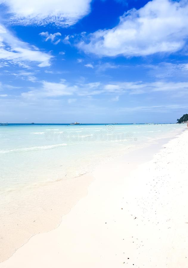 white sand, ocean and blue sky, tropical island in the Pacific Ocean stock images