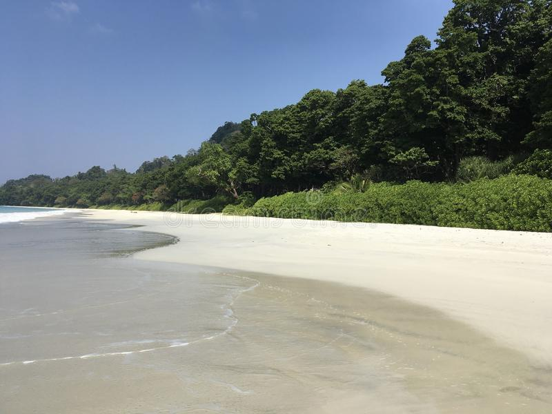 White sand on Radhanagar Beach, Havelock, Andaman and Nicobar, India stock image