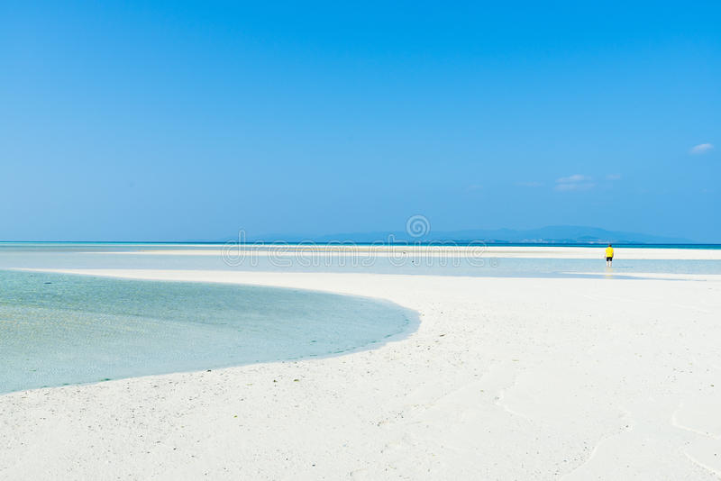 White sand tropical beach with clear blue sky, Tropical Japan royalty free stock images