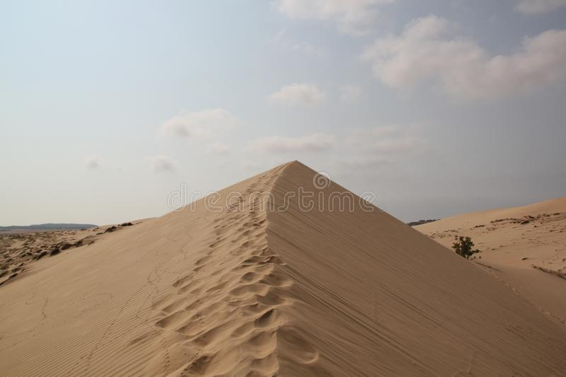 White sands of the desert. Steps in the sands sand dune royalty free stock photo