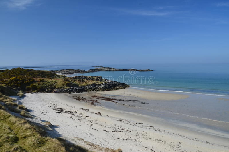 White sands of Morar. Beautiful white beaches by north sea only in Scotland. White sands of Morar stock photo
