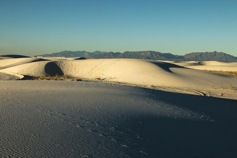 White Sands, National Monument, New Mexico, USA. National Monument, White Sands is in New Mexico, USA. It is no sand but Gypsum stock photo
