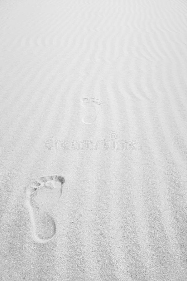 White Sands New Mexico - Mysterious Foot Steps stock image