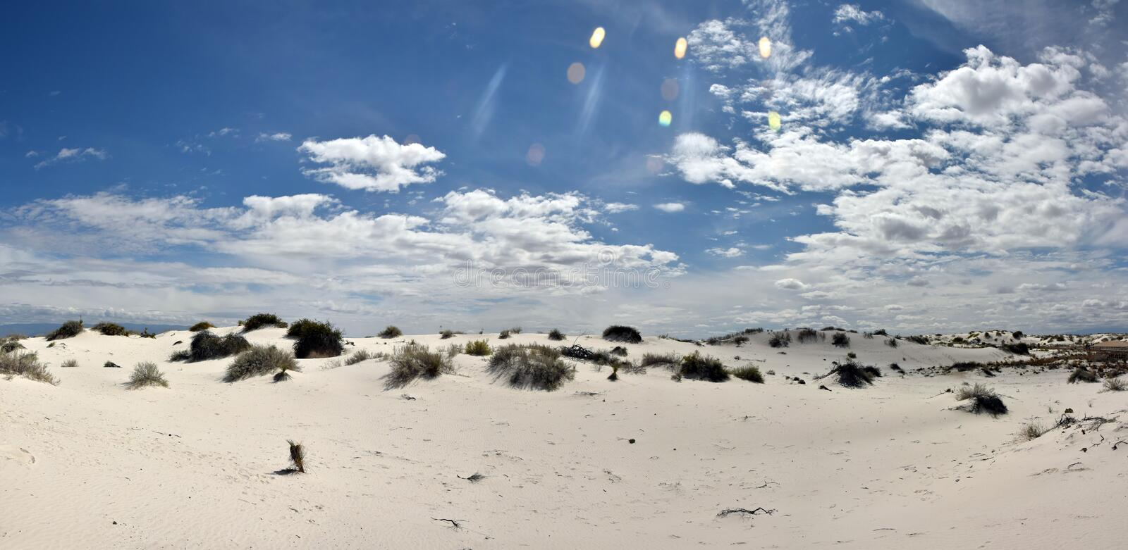 White sands in New Mexico. White Sands National Monument, dunes in New Mexico wilderness. Panoramic high resolution view royalty free stock photography