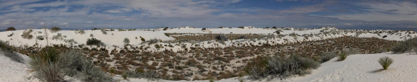 White sands in New Mexico. White Sands National Monument, dunes in New Mexico wilderness. Panoramic high resolution view royalty free stock image