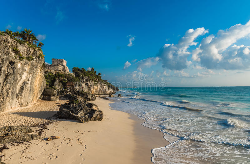White sandy beach and ruins of Tulum, Yucatan, Mexico royalty free stock photography
