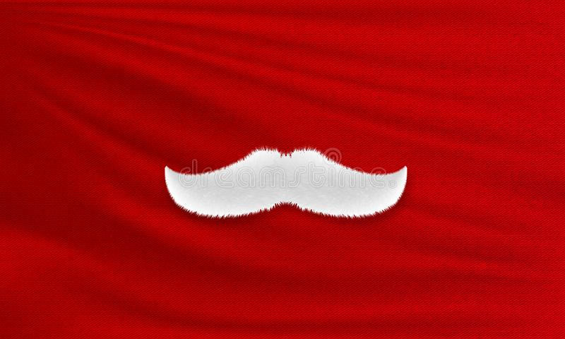 White Santa Claus mustache on red cloth. Merry Christmas and Happy New Year stock images